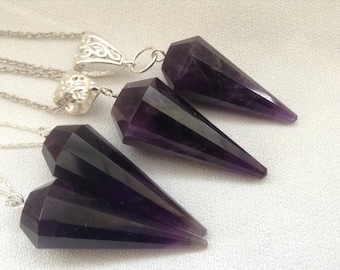 SALE...Madagascan Amethyst cone pendant. 925 sterling silver necklace. Statement necklace. Gift for her.