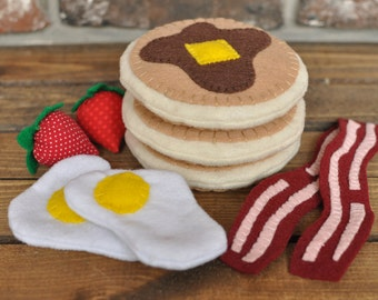 Felt Hungry Man Breakfast Set (pancakes, eggs, bacon, strawberries) - Felt Food for Pretend Play
