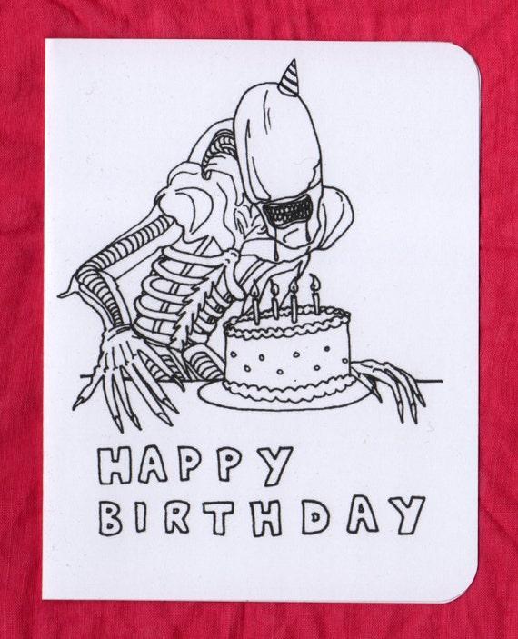 xenomorph birthday card  alien birthday card