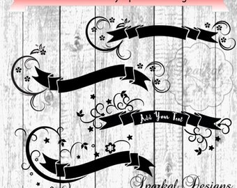 Banner SVG Valentine Swirly Banner Tags Add your own Text, Floral Swirl Banners Holiday Banner Great with HTV Glitter, Flower Fauna stencils