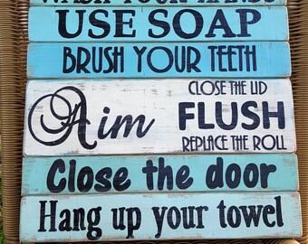 Turquoise and Aqua Bathroom Rules, Beach bath, Rustic bathroom sign
