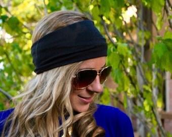 BUY 2 get 1 FREE!! Black Headwrap, Yoga Headband, Fitness Headband, Workout Headband, Black Jersey Headband, Turban headband, boho Hairband,