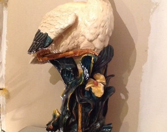 Vintage Majolica Pelican Stork Stick Umbrella Stand After Minton