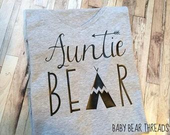 Auntie Bear - Adult Shirt - V Neck or Regular Cut