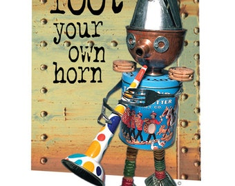 Toot Your Own Horn - Assemblage Art Poster Print