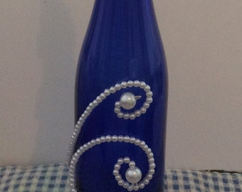 Cobalt Blue Wine Bottle with Pearl Accents and LED Lights