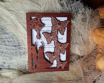 dark wood wedding invitation (220)/ wooden invitations / handmade invitations / carved invitations / butterfly invite / love couple rustic