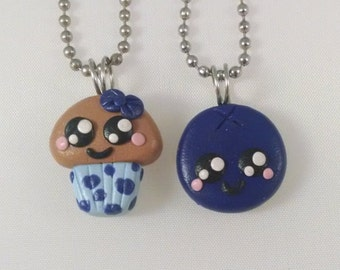 Kawaii Muffin and Blueberry Clay Pendant set for BFFs, lovers, etc. / FREE SHIPPING