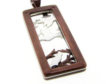 Flock of Birds and Branches Rectangle Pendant Necklace with Hand Cut Sterling Silver and Copper Riveted Layers