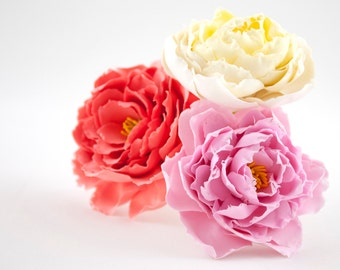 Wedding hair accessories Pink peony flower headpiece Prom hair flower girl gifts Bridal hair pins Hair jewellery Clay flowers for hair Ivory