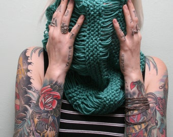 Teal Loose Knit Infinity Scarf / Cowl