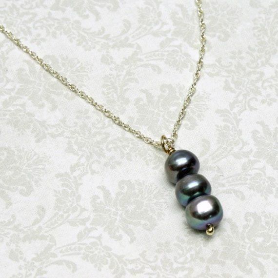 Triple Pearl Necklace, Dark Silver Genuine Freshwater, Sterling Silver Chain