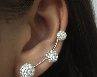 Swarovski Crystal Paved Sterling Silver Ear Crawlers