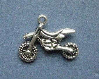10 Dirt Bike Charms - Dirt Bike Pendant- Motorcycle Charm - Dirt Bike - Motorcycle - Antique Silver - 23mm x 17mm -- (No.112-11059)