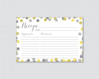 Yellow and Silver Recipe Cards - Printable Yellow and Gray Bridal Shower Recipe Card and Invitation Insert - Glitter Recipe Cards 0001-Y