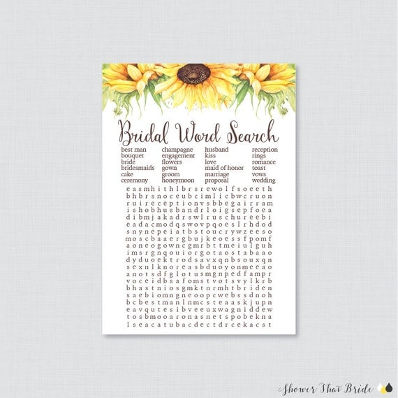 Sunflower Bridal Shower Word Search Printable Rustic Bridal