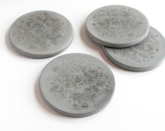 floral concrete coasters - set of 4