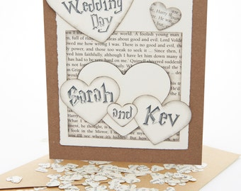 Personalised Wedding and Engagement Card, handmade using real Harry Potter book pages, includes mini book page confetti for inside the card