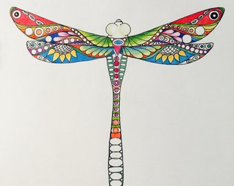 Zentangle dragonfly,colored dragonfly,colored zentangle,dragonfly art,zentangle art,ink colored pencils,insect art