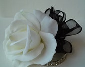 White Rose Wrist Corsage-Wedding Corsage-Real Touch Corsage-Prom Corsage-Homecoming Corsage