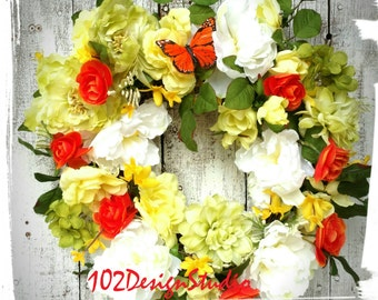 Orange,Yellow,White Wreath,Spring Wreath,Summer Wreath,Spring Door Hanger,Summer Door Hanger,Mother's Day Gift,Gift for Mother,Floral Wreath