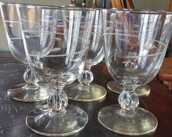 Five Vintage Stemmed Glasses Etched Design