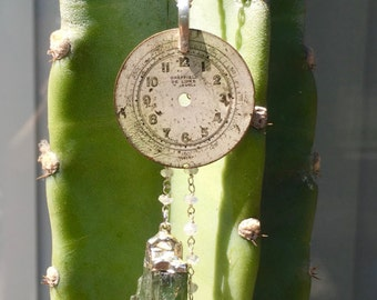 Vintage Watch Dial & Green Kyanite Pendant
