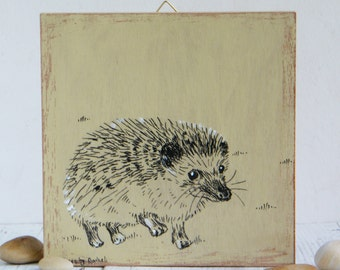 Hedgehog print, Wood wall sign, Nature wall art print, Cabin decor, Rustic signs, Art & collectibles, Shabby chic