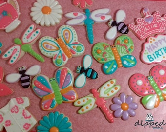 Beautiful Bugs Cookie Favors- Butterflies, Bees and Dragonflies