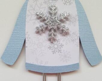 Winter silver snowflake sweater clip