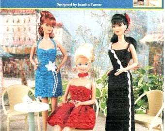 6 Designs! Quick & Easy Fashion Doll Dresses thread crochet pattern, fits Barbie dolls. Designs by Juanita Turner, Annie's Attic 871615.