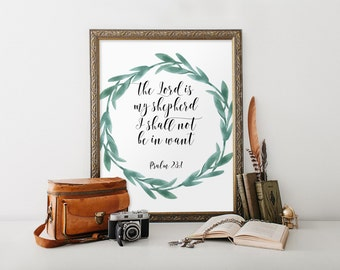 Bible verse for encouragement, Scripture art, Bible verse art print, Inspirational quote, Psalm 23:1 Lord is my shepherd, Calligraphy BD-835