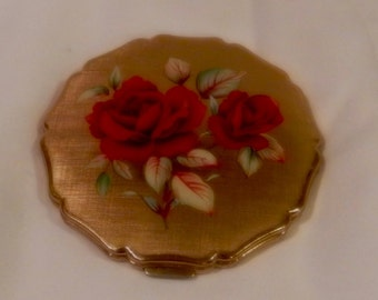 Vintage Stratton Powder Makeup Compact with Rose Floral Design