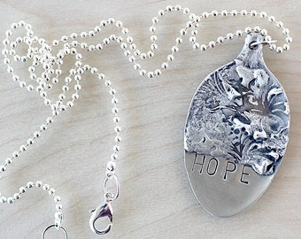 Silverware Jewelry Pendant Necklace - Word Jewelry - Artisan Necklace - Repurposed Jewelry - Spoon Necklace - Unique Jewelry - Art Jewelry