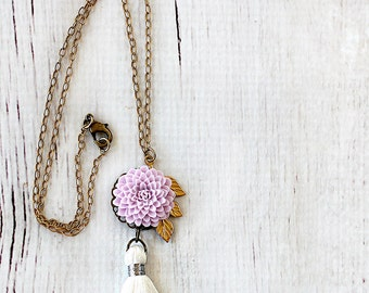 Tassel Necklace - Lilac Necklace -Bridesmaid Gift - Necklace for Girlfriend - Mother of Groom Necklace - Mother of Bride Necklace