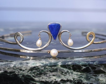 Sterling Silver Lapis Pearl Tiara with 14K Accents