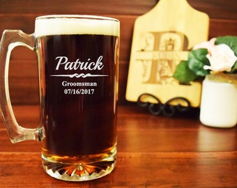 Groomsmen Beer Mugs, Engraved Set of 7, Personalized, 25 ounces, Groomsmen Gifts, Gifts for Men, Groomsman Wedding Favors, Beer Steins, BB08