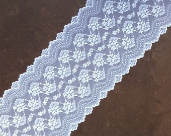 Stretch Lace white color, white lace fabric, Elastic lace white, wide lace, Lace trim, width 7,28 inch, lace 18,5 sm, lace per metre Nr2031B