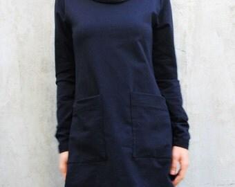 Black Oversize Top/Plus Size Tunic/Sport Sweatshirt/High Collar Top/ Black Maxi Tunic/ Extravagant Tunic /  B0046