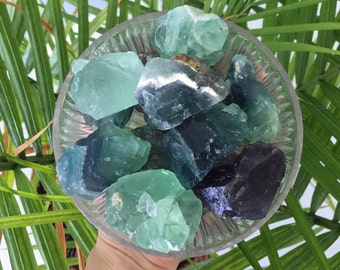 Fluorite Healing Crystals and  Stones, Raw Green Fluorite and Purple Fluorite