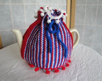 knitted tea cozy, British tea cosy, stripe teapot cover, house-warming gift, pompom tea cozy, patriotic pot-warmer, red white blue cosy