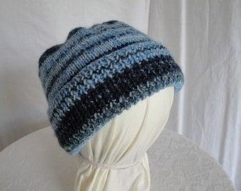 childs knit hat, blue mix beanie, cap for boy or girl, rib brim beanie, denim blues cap, wool mix child hat, ribbed brim cap, blue beanie