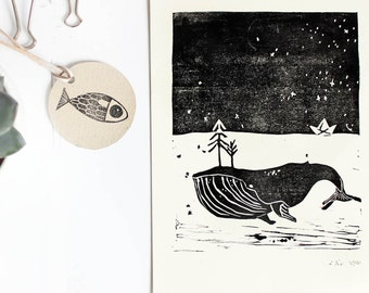 Linocut whale, illustration children's paper boat sea