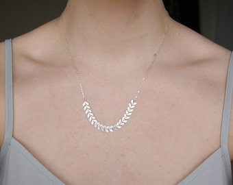 Sterling Silver Fishbone Necklace, Extra Fine Sterling Silver Chevron Chain Necklace