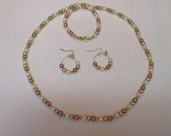 Light to dark neutral colored beaded necklace with matching pierced earrings - # 216
