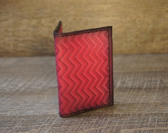 Leather Minimalist Wallet | Card Case | Front Pocket Wallet | Chevron Pink