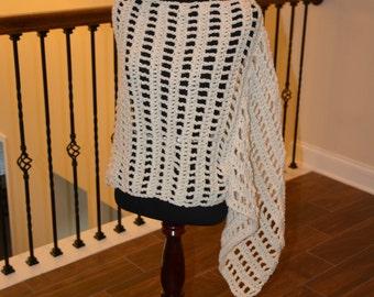 Cream XL Asymmetrical Crochet Poncho