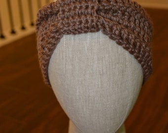 Classic Knotted Crochet Brown Headband
