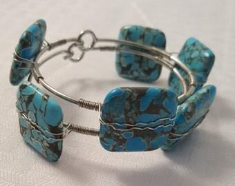 Blue Square Stone Wire Wrap Bangles - Blue Stone Bangles - Blue Bangle - Blue Bangles - Women's Blue Bangles - Square Stone Bangles in Blue