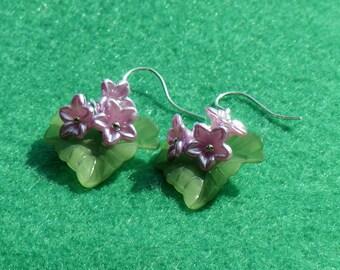 Handmade flower earrings, unique earrings, lilac flower earrings, acrylic earrings